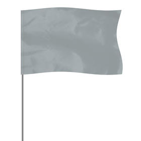 """silver 5"""" x 8"""" marker flag on a 36"""" wire"""