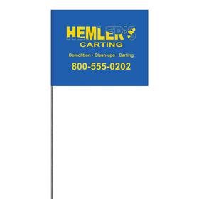 "1-Color 4"" x 5"" Custom High Gloss Polyethylene Marking Flag with 30"" Wire Staff"
