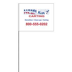 """2-Color 4"""" x 5"""" Custom White High Gloss Polyethylene Marking with 30"""" Wire Staff"""