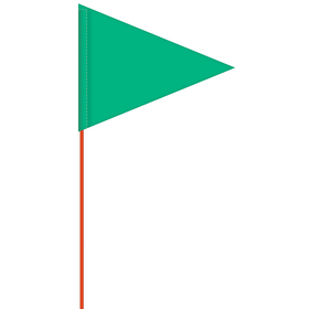 solid color green pennant field flag w/orange staff