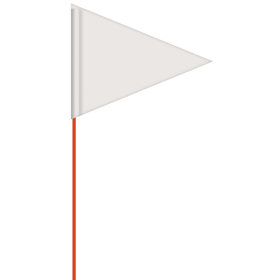 solid color white pennant field flag w/orange staff