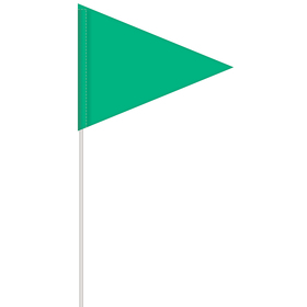 solid color green pennant field flag w/white staff