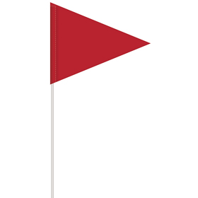 solid color red pennant field flag w/white staff