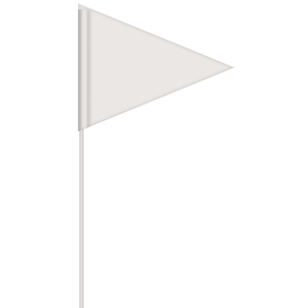 solid color white pennant field flag w/white staff