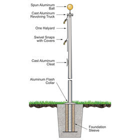 30' architectural pole w/ external halyard - bronze finish