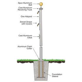 30' architectural pole w/ external halyard - satin finish