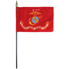 "marine corps 4"" x 6"" staff-mounted rayon"