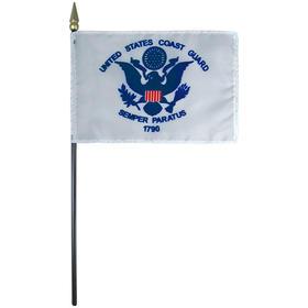 """coast guard 4"""" x 6"""" staff-mounted rayon"""
