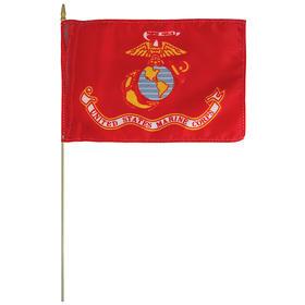 "marine corps 12"" x 18"" staff-mounted rayon"