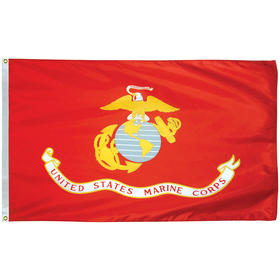 marine corps 3' x 5' outdoor 2 ply poly w/heading & grommets