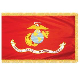 marine corps 3' x 5' nylon with pole hem and fringe