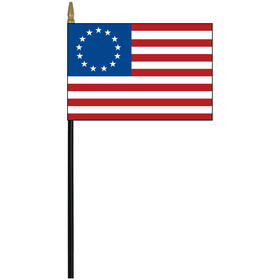 """betsy ross 4"""" x 6"""" printed rayon stick flag"""