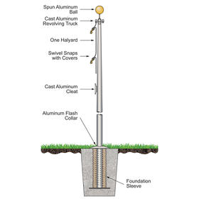 50' Atlas Commercial Pole w/External Halyard - Bronze Finish
