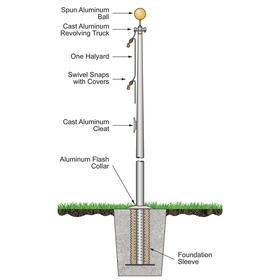 50' Atlas Commercial Pole w/External Halyard - Satin Finish
