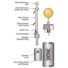 30' Vanguard Commercial Pole w/Internal Halyard - Bronze