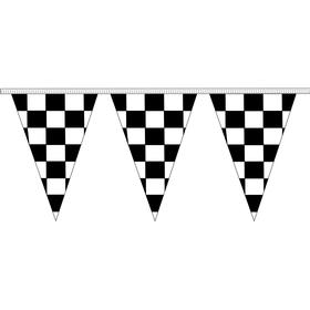 "12"" x 18"" black & white checkered 100' pennant strings"
