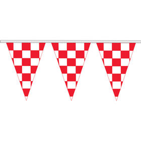 "12"" x 18"" red & white checkered 100' pennant strings"