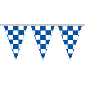 """12"""" x 18"""" blue & white checkered 100' pennant strin"""