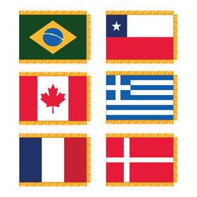 4' x 6' u.n. indoor nylon flag set w/ pole hem & gold fringe