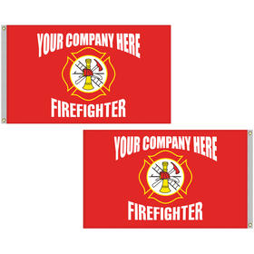 5' x 8' firefighter double sided knitted polyester flag