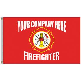 5' x 8' firefighter single reverse knitted polyester flag