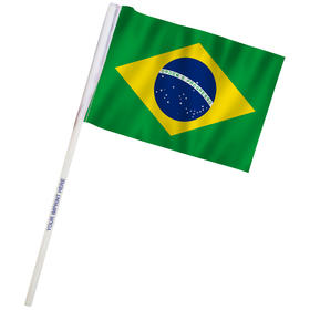 "4"" x 6"" Brazil Imprinted Staff Polyester Stick Flags"