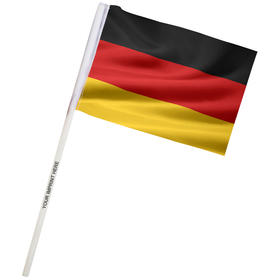 "4"" x 6"" germany imprinted staff polyester stick flags"