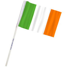 "4"" x 6"" Ireland Imprinted Staff Polyester Stick Flags"