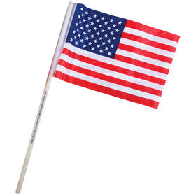 "4"" x 6"" US Imprinted Staff Polyester Stick Flags"