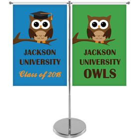 """11-19.7"""" T Style Metal Telescopic Flagpole w/ 2 Banners"""