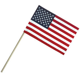 "4'' x 6"" economy cotton u.s. stick flag on 10"" dowel"