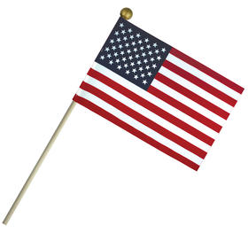 "4'' x 6"" economy cotton u.s. stick flag on 10"" wooden dowel"