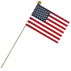 "6'' x 9"" economy cotton u.s. stick flag on 18"" wooden dowel"