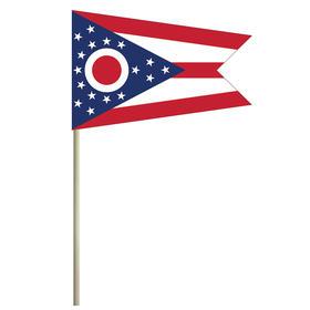 """ohio 4'' x 6"""" mounted cotton stick flag"""