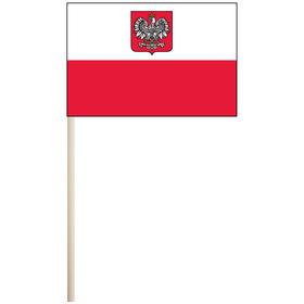 """poland w/ seal 4'' x 6"""" mounted cotton stick flag"""