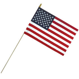 """12""""x18"""" economy cotton us stick flag with spear top on a 30"""" dowel"""