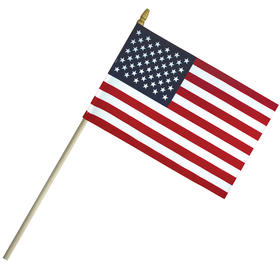 "4"" x 6"" economy cotton us stick flag with spear top on a 10"" dowel"