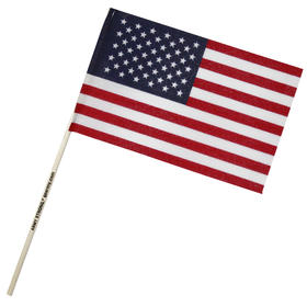 "6"" X 9"" U.S. Cotton Flag on Imprinted 18"" Wooden Staff"