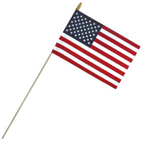 """8""""x 12"""" Economy Cotton US Stick Flag with Spear Top on a 24"""" Dowel"""