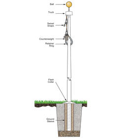 25' white fiberglass flagpole internal halyard ground set