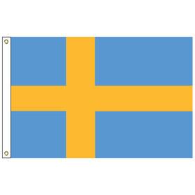 sweden 5' x 8' outdoor nylon flag w/ heading & grommets