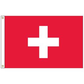 switzerland 5' x 8' outdoor nylon flag w/ heading & grommets