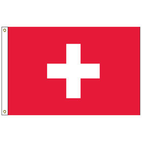 switzerland 2' x 3' outdoor nylon flag with heading and grommets