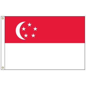singapore 3' x 5' outdoor nylon flag w/heading & grommets