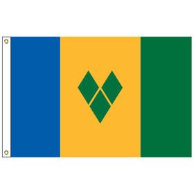 st. vincent & grenadines 3' x 5' outdoor nylon flag w/ heading & grommets