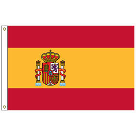 spain with seal 5' x 8' outdoor nylon flag w/ heading & grommets