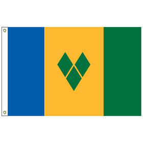 st. vincent & grenadines 5' x 8' outdoor nylon flag w/ heading & grommets