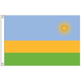 rwanda 2' x 3' outdoor nylon flag with heading and grommets