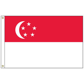 singapore 2' x 3' outdoor nylon flag with heading and grommets