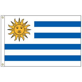 uruguay 3' x 5' outdoor nylon flag w/ heading & grommets